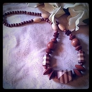 Vintage Long Chunky Wooden Bead Necklace